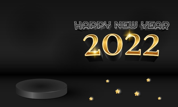 3d modern black gold 2022 happy new year banner with star decorations