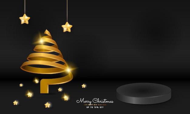 스파클 나선형 나무와 별 3d 현대 검은 메리 크리스마스와 새해 복 많이 받으세요 연단 배너