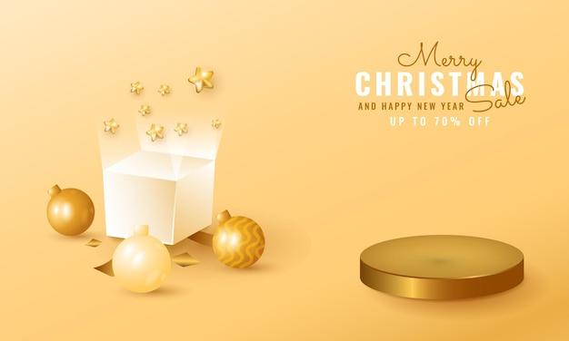 黄金の表彰台と3dモダンなクリスマスと新年のセールバナー。ギフトボックスとボール