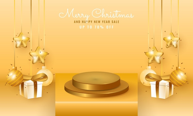 表彰台とぶら下がっているクリスマスの装飾が施された3dモダンクリスマスと新年のセールバナー