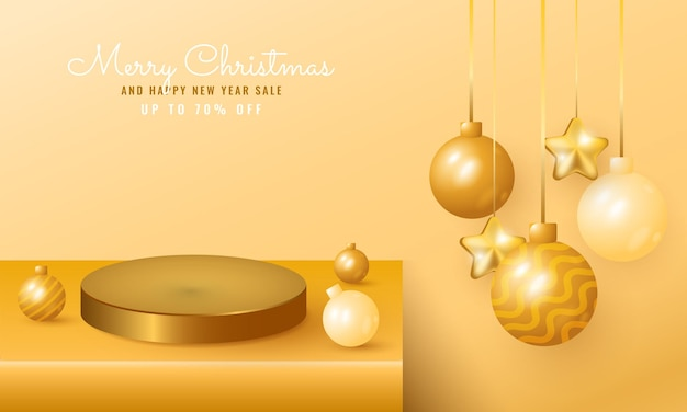 表彰台、ぶら下がっている星とボールの3dモダンなクリスマスと新年のセールバナー