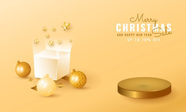 3d modern christmas and new year sale banner with golden podium. gift box and ball