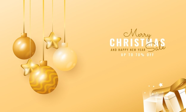 3d modern christmas and new year sale banner with hanging balloon and star