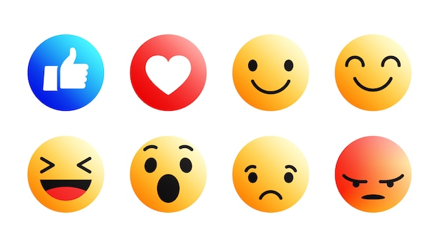 3d modern facebook emoji icons set