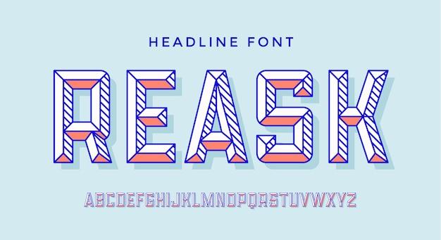 3dモダンフォント。カラフルなモダンラインアルファベットと3 dフォント。ファセットを持つ大胆な大文字のレトロな文字。タイプ、タイポグラフィ行文字ラテンフォント。見出しのモダンな手描きフォント。