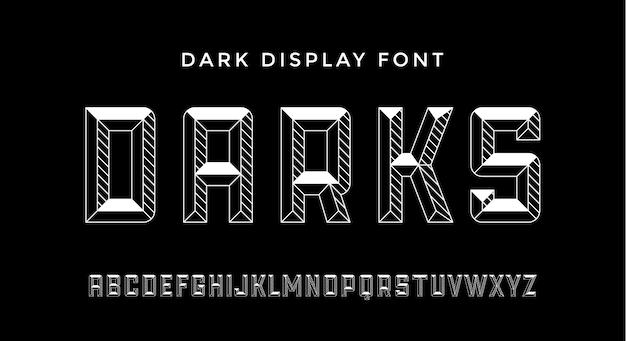 3d 현대 글꼴. 어두운 현대 선 알파벳 및 3d 글꼴