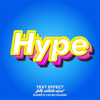 3d modern hype font effect for sticker