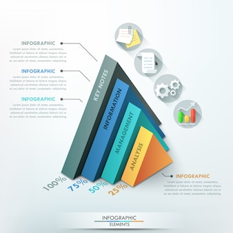 3d modern infographic option template with pyramids