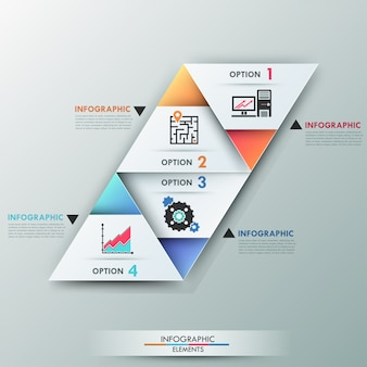 3d современная инфографика варианты баннеров с треугольниками