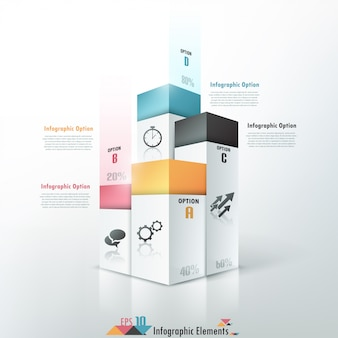 3d modern infographics options banner