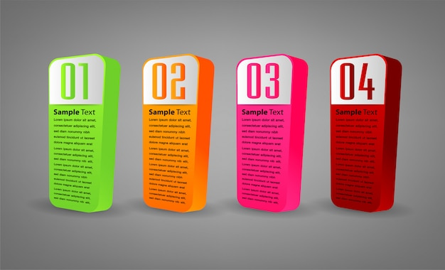 3d modern paper text box template, banner infographic