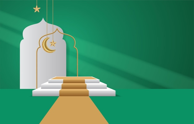 3d modern podium and mosque on green background