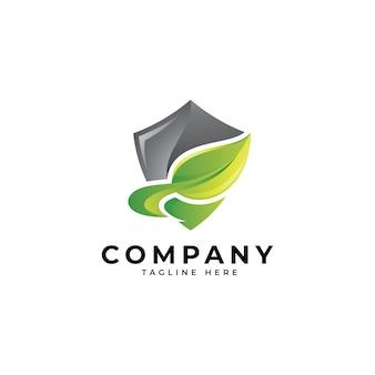 3d modern shield and green leaf logo