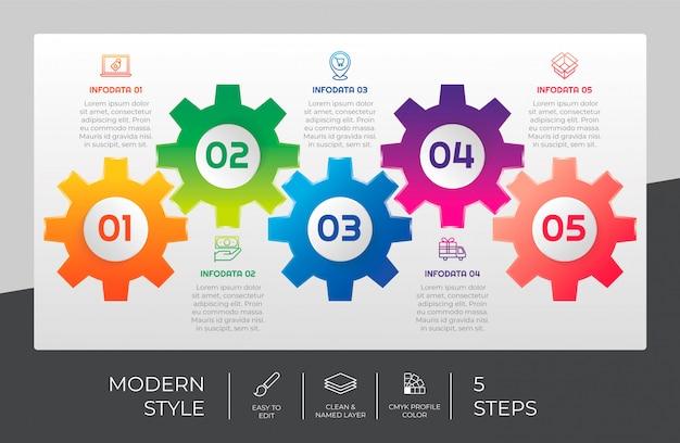 5つのオプションとプレゼンテーションの目的のためのカラフルなスタイルの3 dのモダンなステップのインフォグラフィックデザイン。ギアオプションのインフォグラフィック