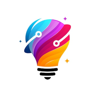 3dモダンテック電球ロゴデザインコンセプト、ピクセルテクノロジー電球アイデアロゴテンプレート