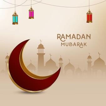 3d moon eid mubarak vector