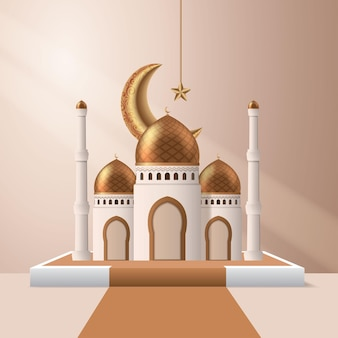 3d mosque with gold crescent moon and star