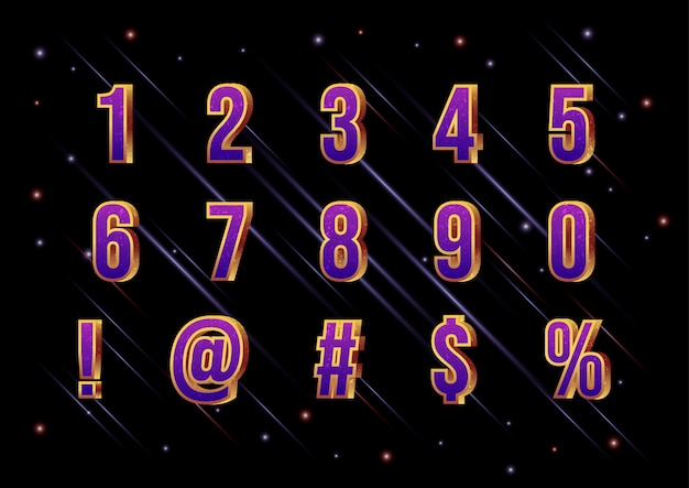 3d movie galaxy space font number set