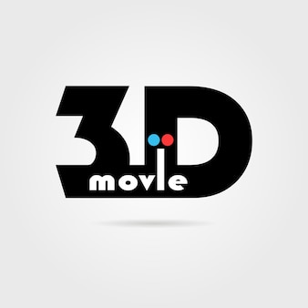 3d movie icon with shadow. concept of filmmaking, eyesight, widescreen, perception, binocular vision. isolated on gray background. flat style trend modern logotype design vector illustration