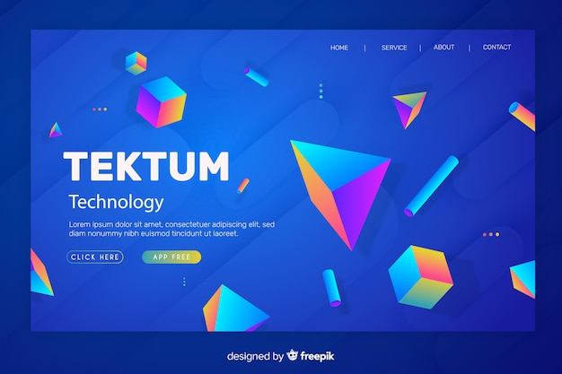 3d multicolored geometric landing page