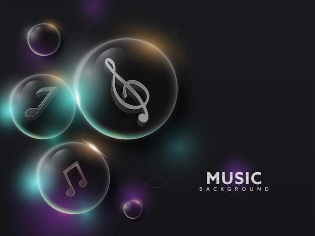 Музыкальные ноты 3d внутри прозрачных пузырей на черном фоне.