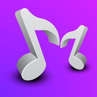 紫色の背景に3d音楽ノート。