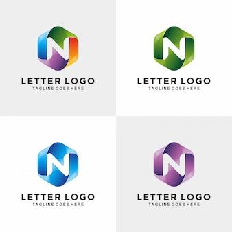 最新の3d文字nのロゴデザイン