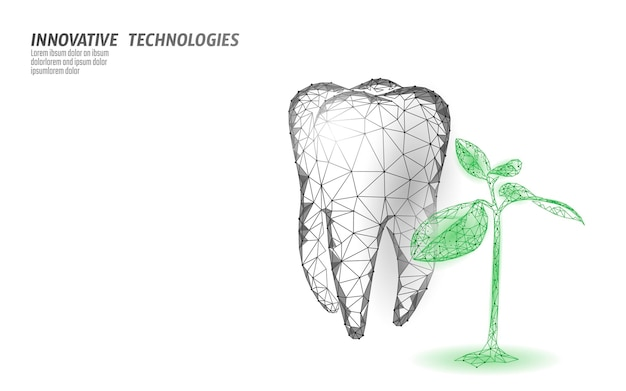 3d natural tooth care probiotics capsule concept. anatomical molar tooth healthy enamel herbal alternative remedy. homeopathy bacterial therapy dental vector illustration