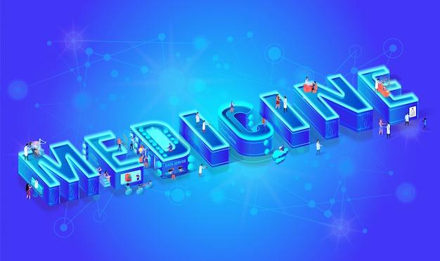 3d neon isometric word medicine.