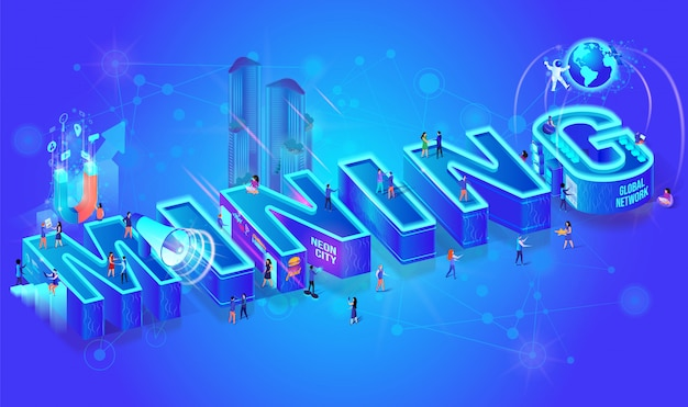 3d neon isometric word mining, city people