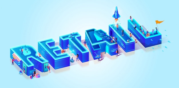 3d neon isometric word retail on cyan background