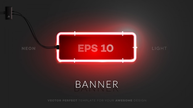 3d neon rectangle sign.