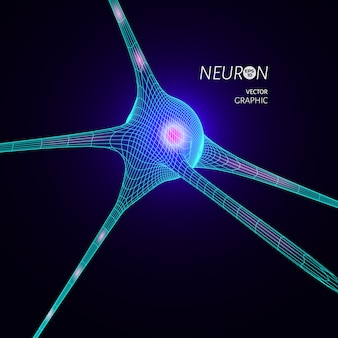 3d neuron model. graphic design element for science publication.