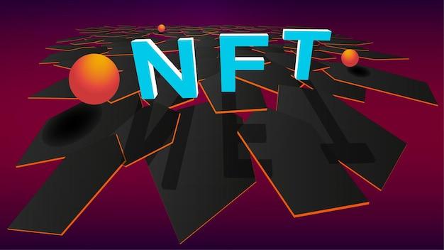 육각형과 주황색 공의 세련된 현대 다각형 배경에 3d nft 대체 불가능 토큰. 게임이나 예술에서 독특한 수집품에 대해 지불하십시오. 벡터 일러스트 레이 션.