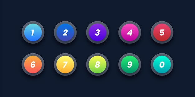 3d number bullet point icons