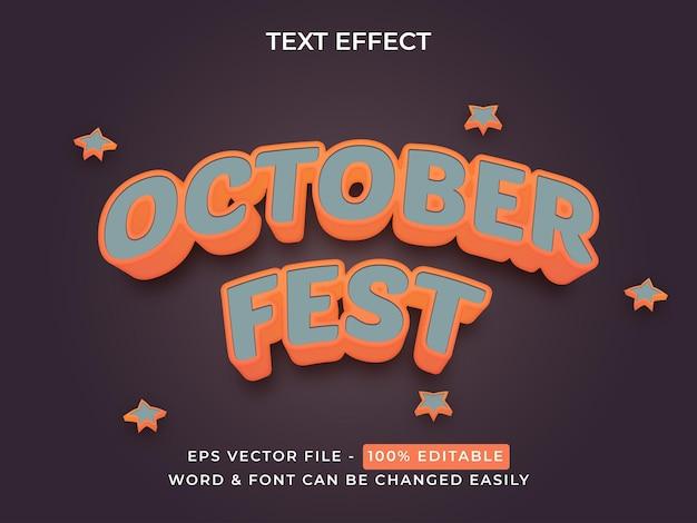 3d october fest text effect editable text effect