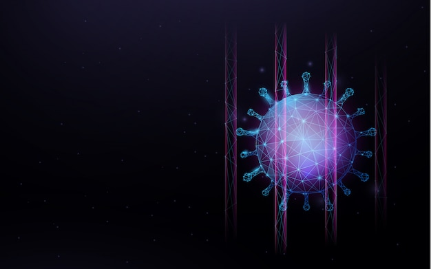 코로나 바이러스 2019-ncov 소설 코로나 바이러스의 3d. 바이러스의 현미경에서 클로즈업입니다. 안티 바이러스
