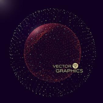 마이크로 또는 매크로 세계의 공간에서 구형 물체의 3d. 고립 된 물체는 와이어 프레임과 폭발 요소가있는 입자로 구성됩니다.