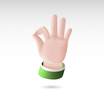 3d ok hand sign cartoon style on white tranparent background free vector