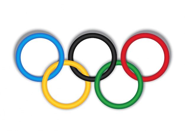 白い背景に3dのオリンピックリング