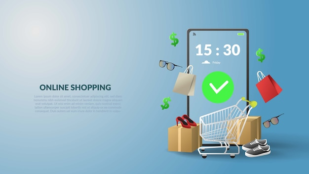 3d online shopping illustration banner with mobile design