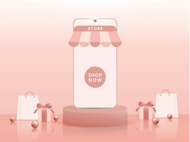 모바일 애플리케이션 또는 웹 사이트 개념에 대한 3d 온라인 쇼핑