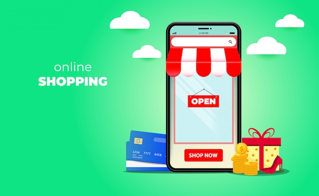 3d online shopping on websites or mobile applications concepts