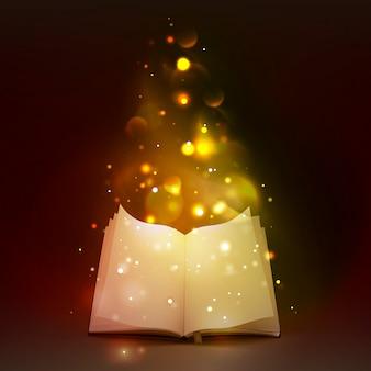 3d libro aperto con luci magiche