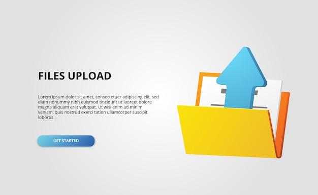 3d открытая папка содержит файл, документ, стрелка загрузки, веб-баннер