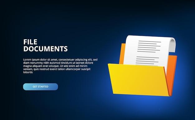 3d открытая папка содержит файловые документы веб-баннер каталог корпоративное администрирование на черном