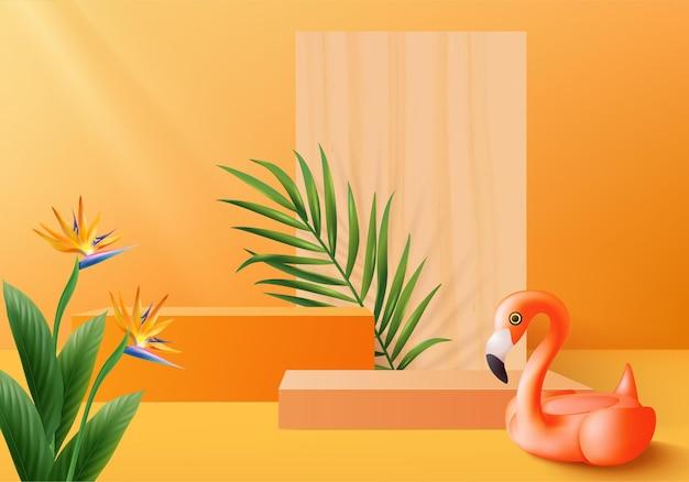 3d оранжевый фламинго визуализирует сцену подиума дисплея продукта с летним фоном тропической платформы Premium векторы