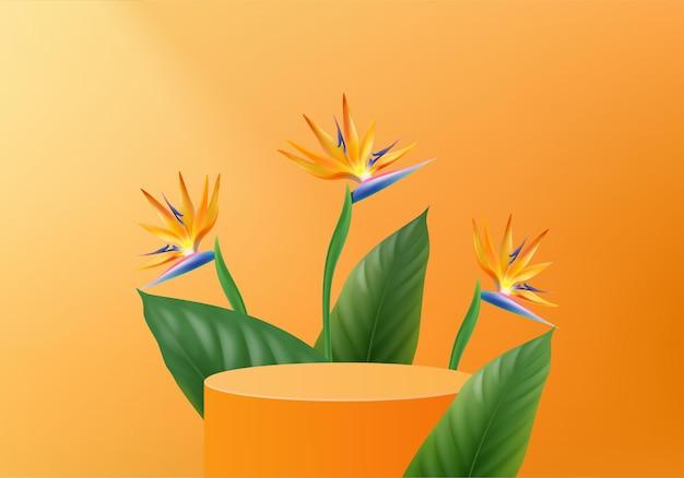 3d оранжевая пальма визуализирует сцену на подиуме с тропической платформой