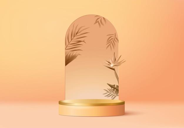 3d оранжевая пальма визуализирует сцену подиума дисплея продукта с тропической платформой