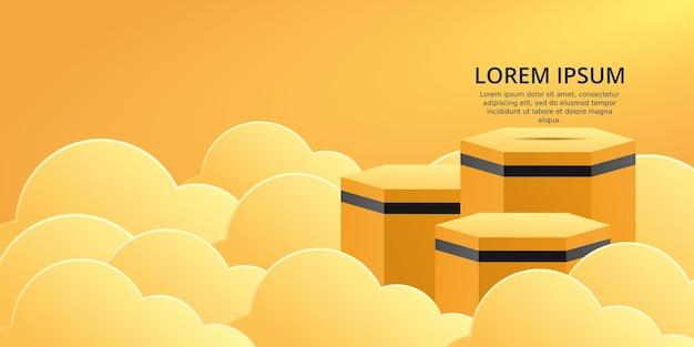 구름과 함께 3d 주황색 연단 제품 디스플레이